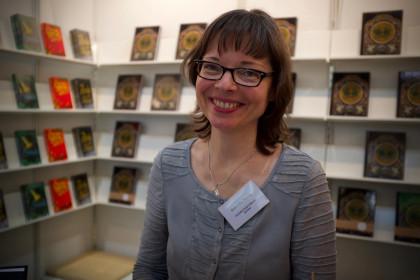 Natascha Sturm vom quirligen Neissufer Verlag auf der Leipziger Buchmesse 2019